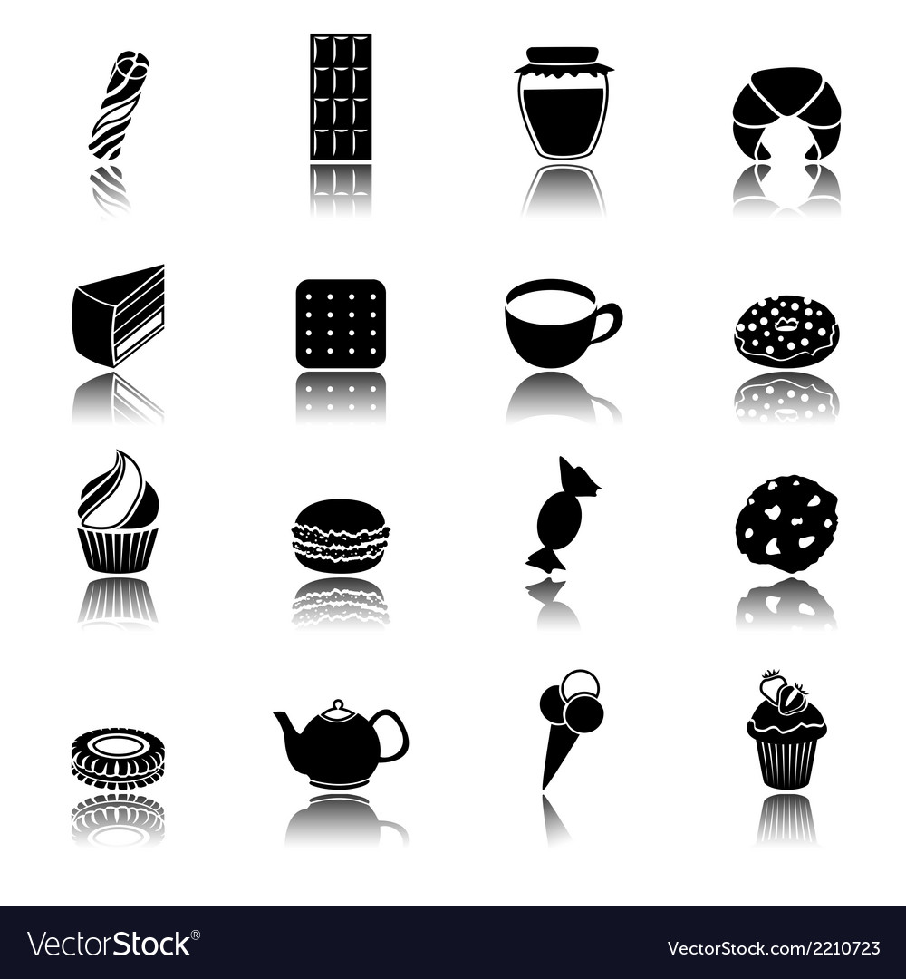 Sweets black icons set vector | Price: 1 Credit (USD $1)