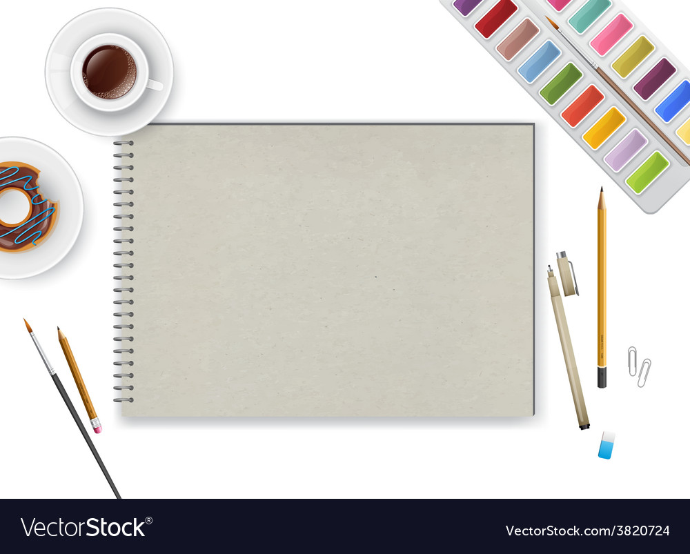 Art workspace with notebook and coffee vector   Price: 1 Credit (USD $1)