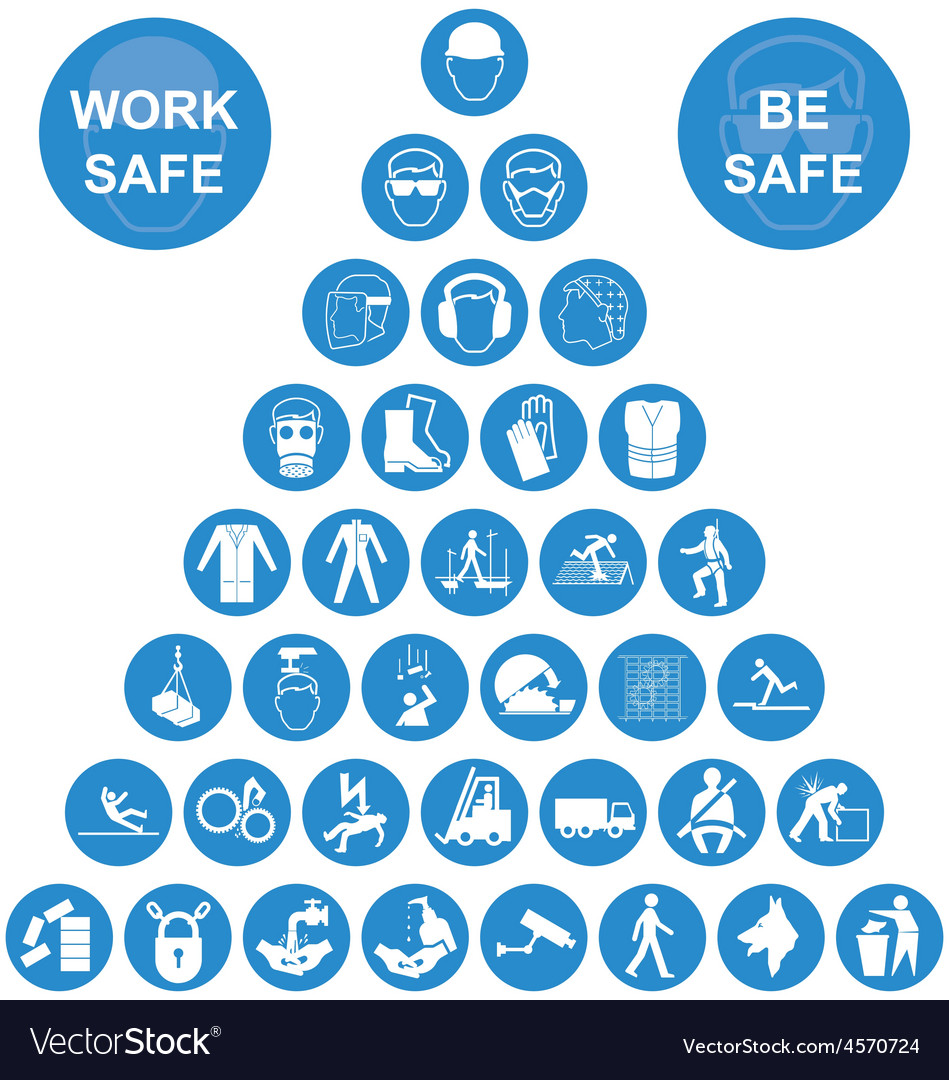 Blue pyramid health and safety icon collection vector | Price: 1 Credit (USD $1)