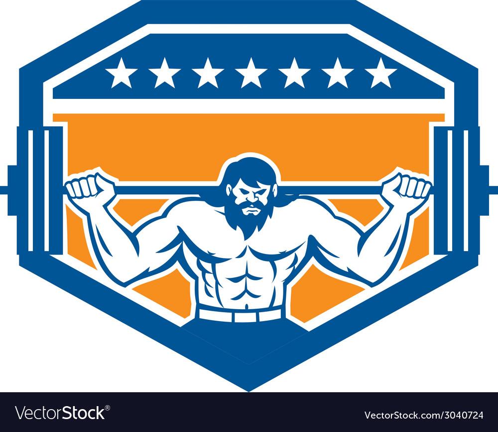 Bodybuilder lifting barbell shield retro vector | Price: 1 Credit (USD $1)