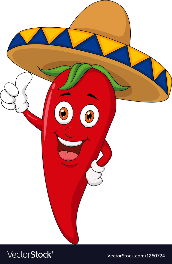 Chili cartoon with sombrero hat vector | Price: 3 Credit (USD $3)