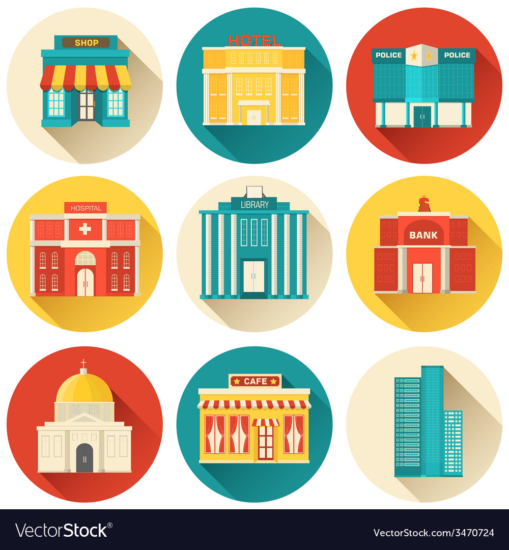 Flat colorful sity buildings set icon background vector | Price: 1 Credit (USD $1)