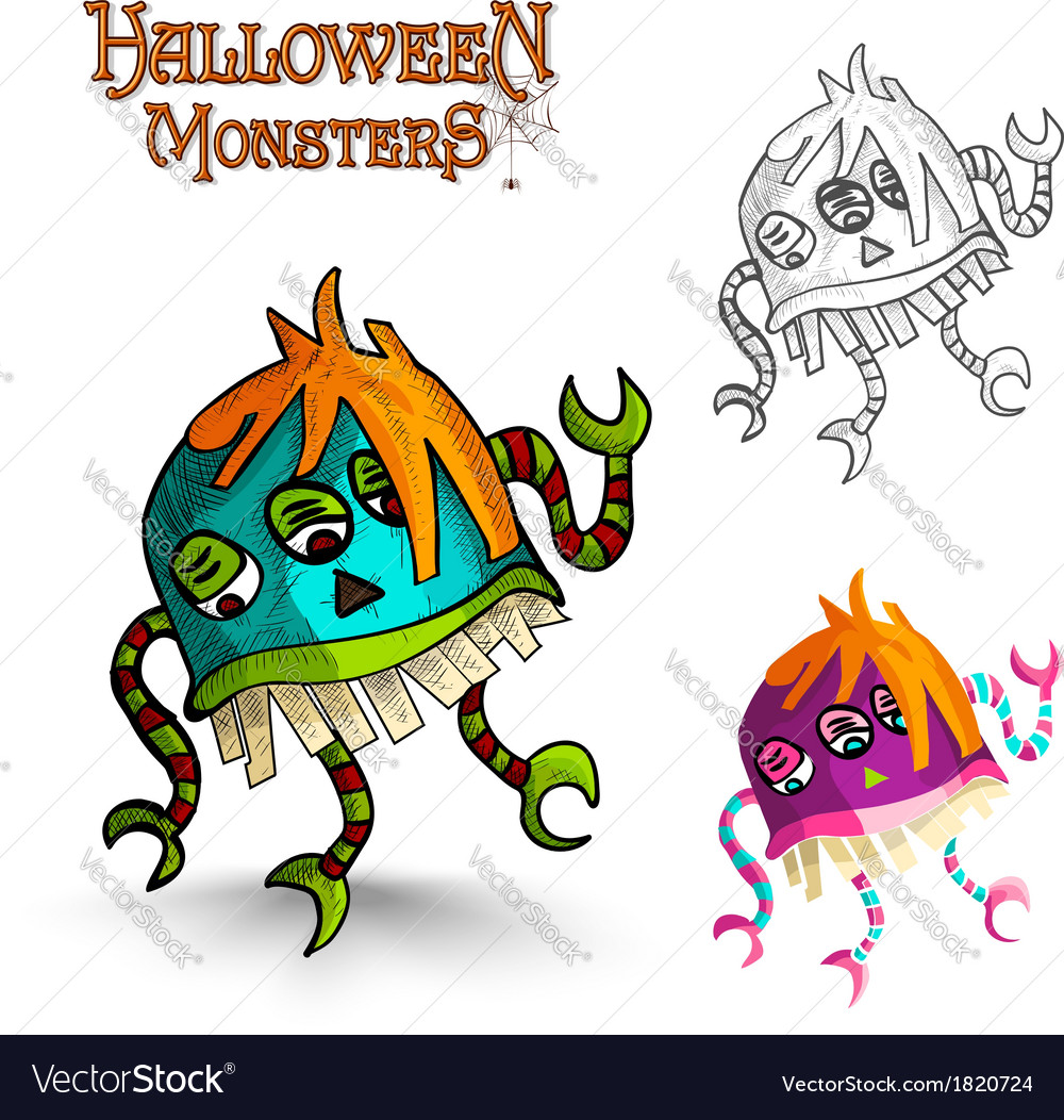 Halloween monsters scary cartoon freak eps10 file vector | Price: 1 Credit (USD $1)