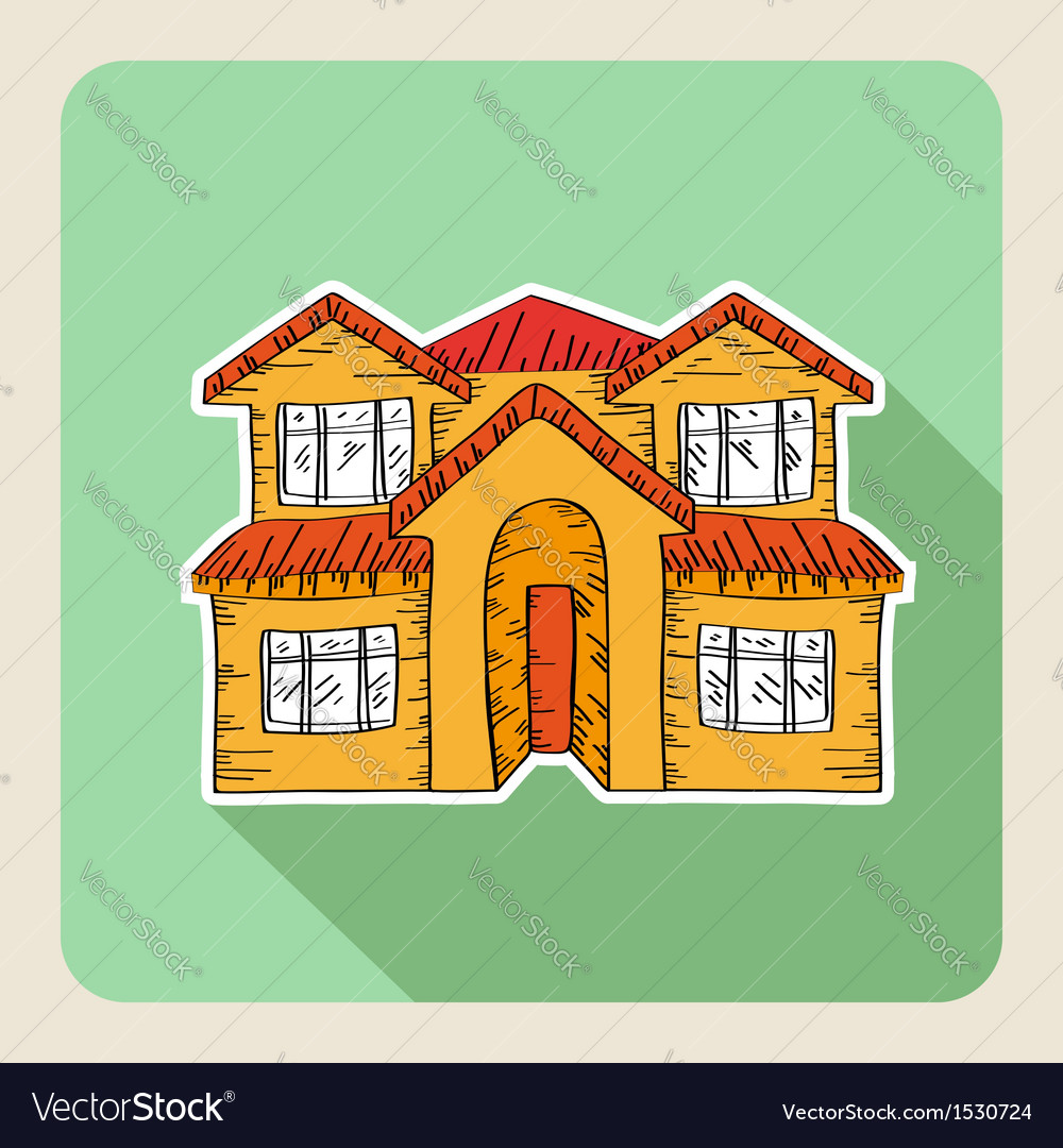 Hand drawn real estate family house vector | Price: 1 Credit (USD $1)