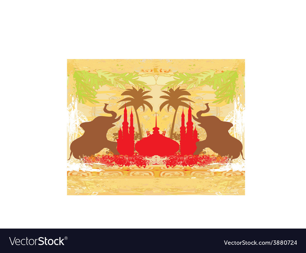 India backgroundelephant building and palm trees vector | Price: 1 Credit (USD $1)