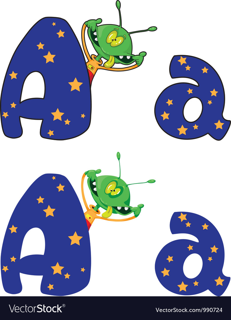 Letter a alien vector | Price: 3 Credit (USD $3)
