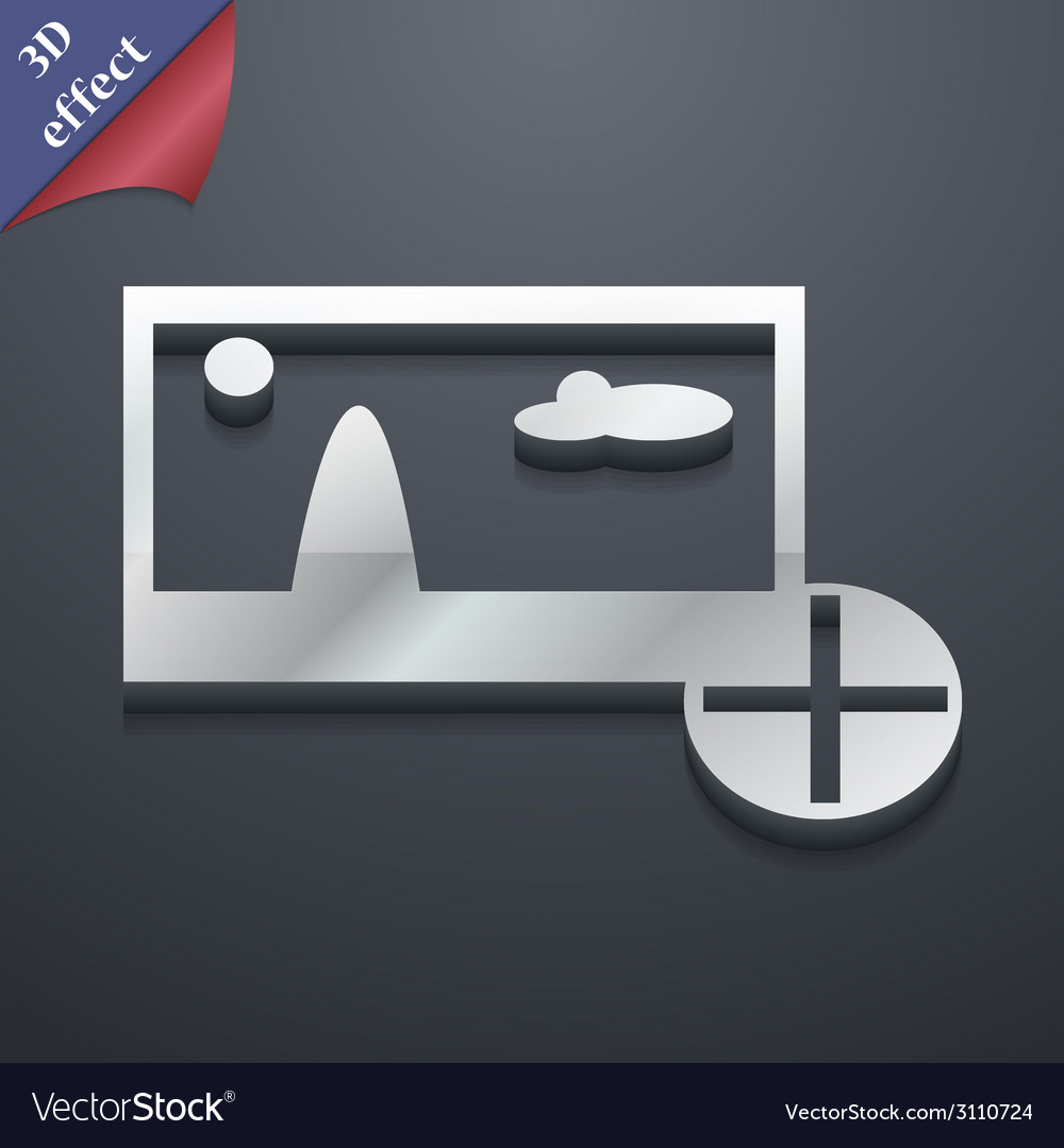 Plus add file jpg icon symbol 3d style trendy vector | Price: 1 Credit (USD $1)