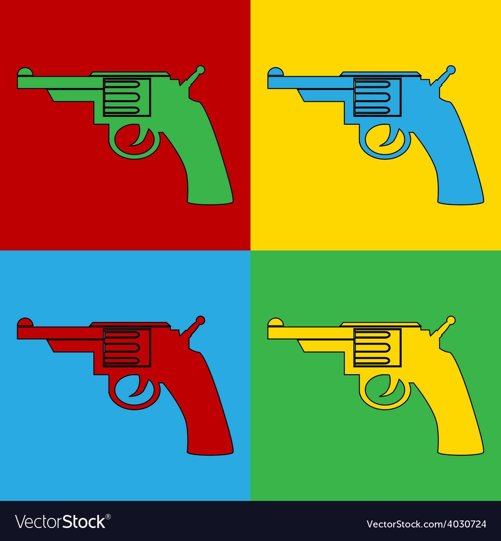 Pop art gun icons vector | Price: 1 Credit (USD $1)