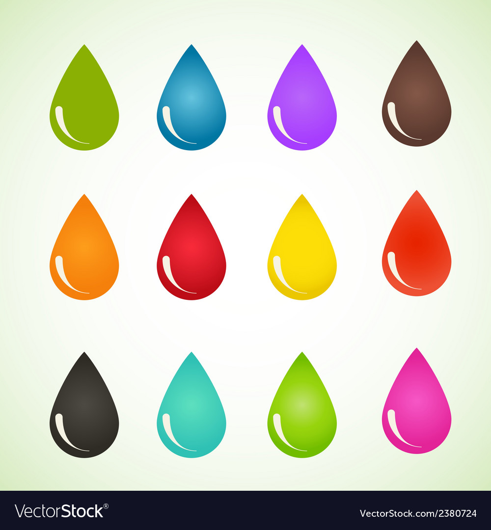 Set of drops different colors design eps10 vector | Price: 1 Credit (USD $1)
