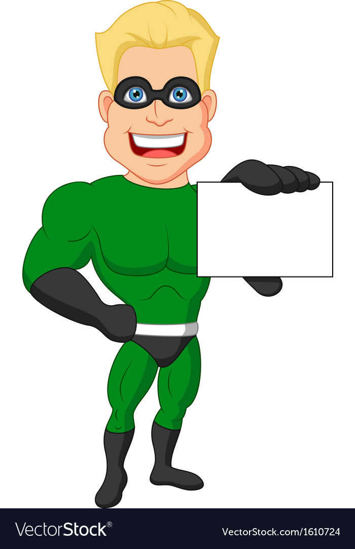 Superhero cartoon holding name card vector | Price: 1 Credit (USD $1)
