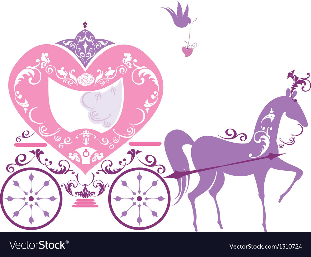 Vintage fairytale horse carriage isolated on white vector
