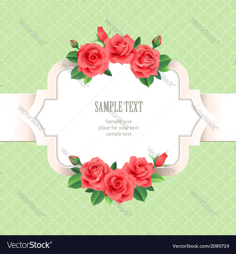 Vintage rose frame vector | Price: 1 Credit (USD $1)