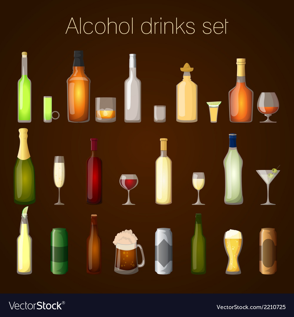 Alcohol drinks set vector | Price: 1 Credit (USD $1)