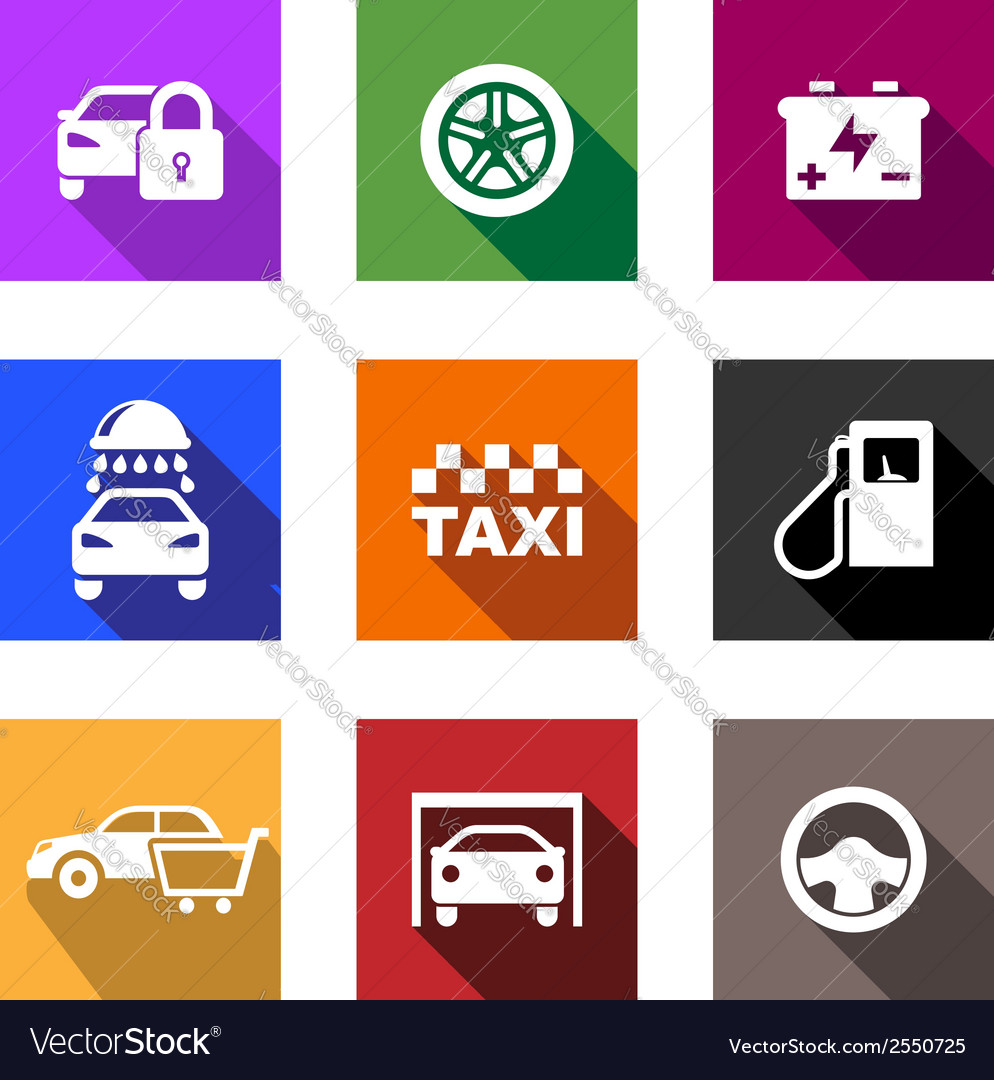 Automobile and service flat icons or web buttons vector | Price: 1 Credit (USD $1)