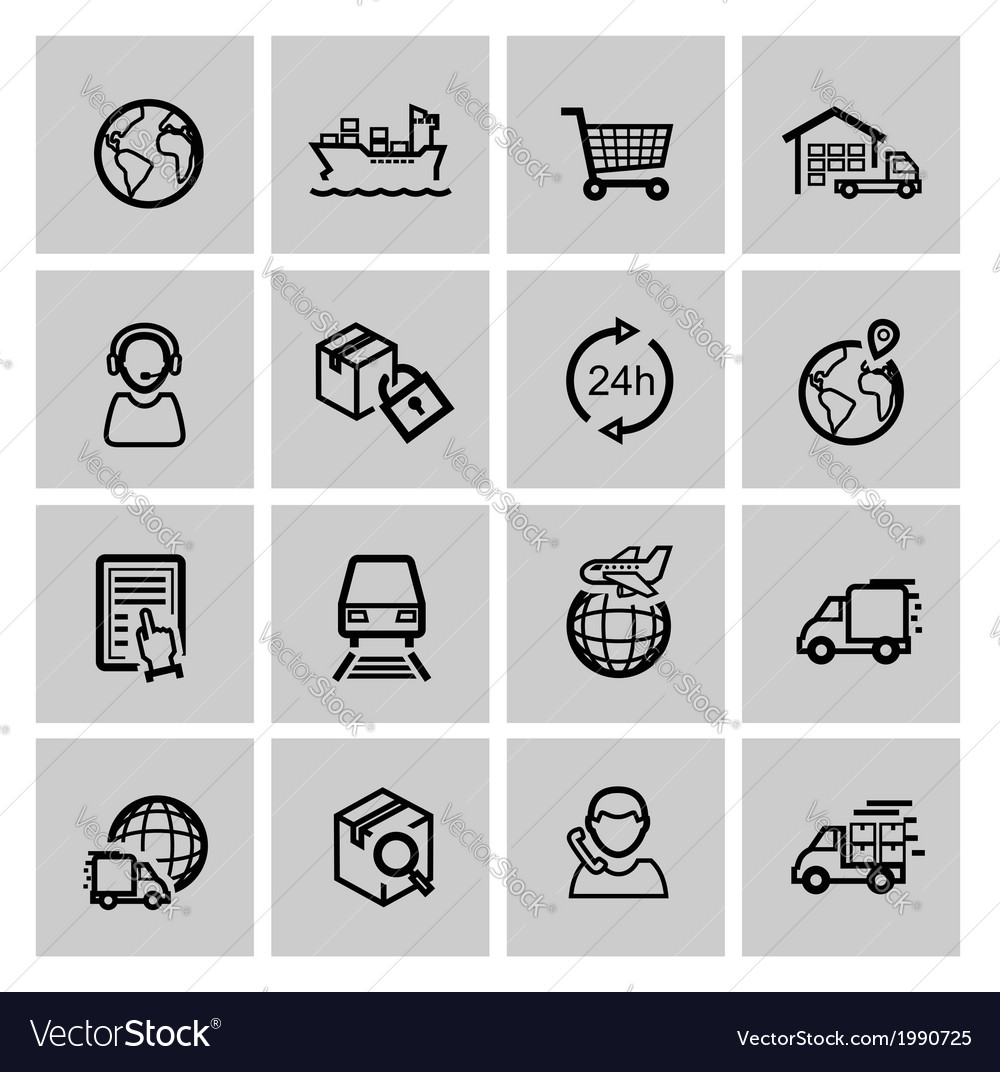 Black logistic and shipping icon set vector | Price: 1 Credit (USD $1)