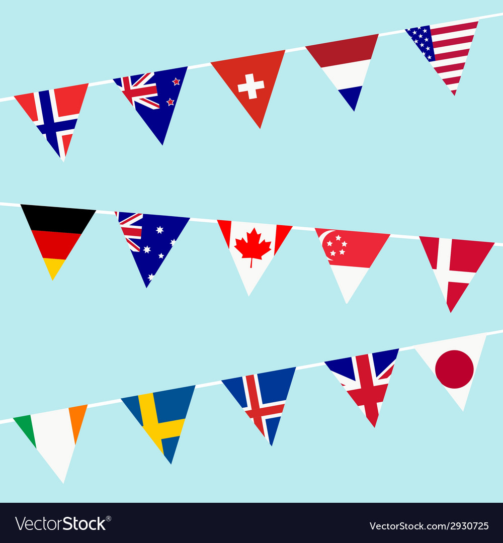 Bunting with flags of the most developed countries vector | Price: 1 Credit (USD $1)