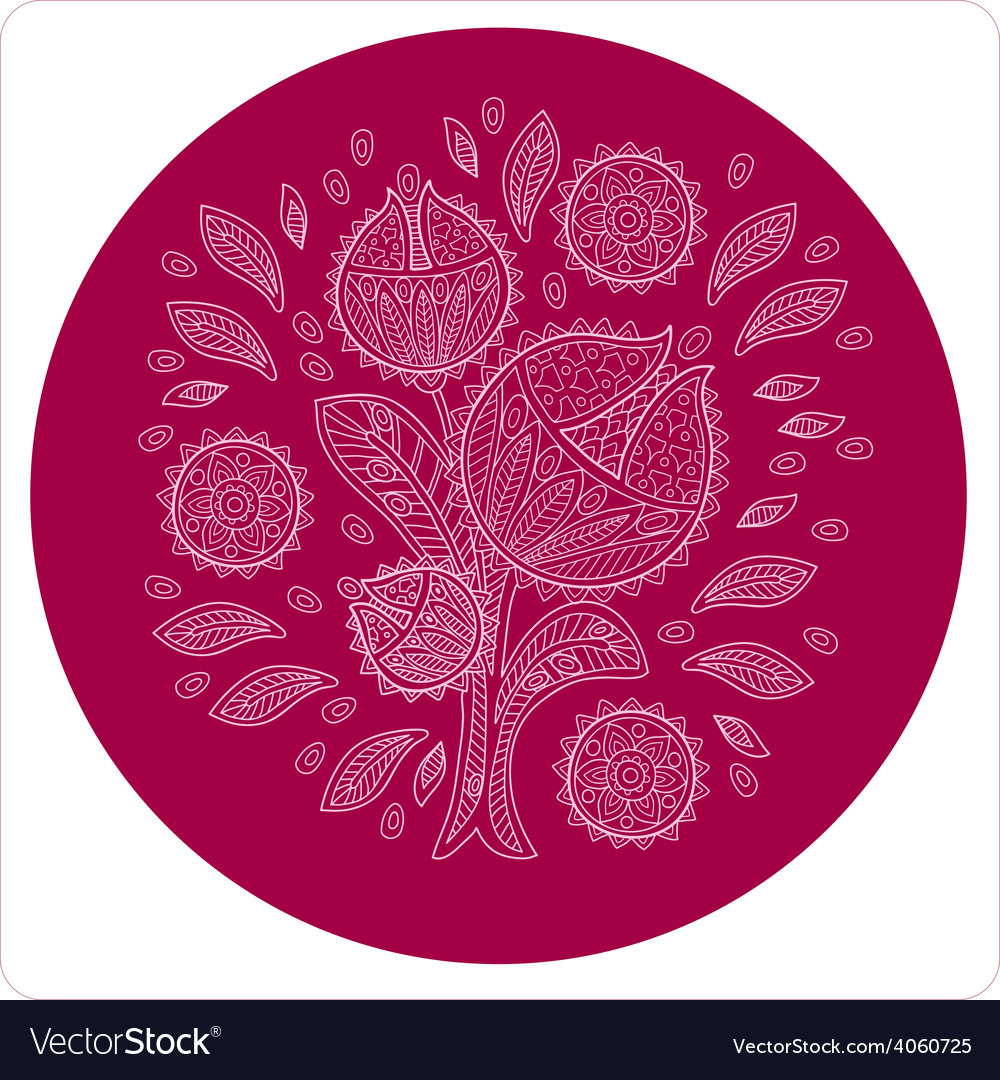 Decorative flower in circle ornament vector | Price: 1 Credit (USD $1)