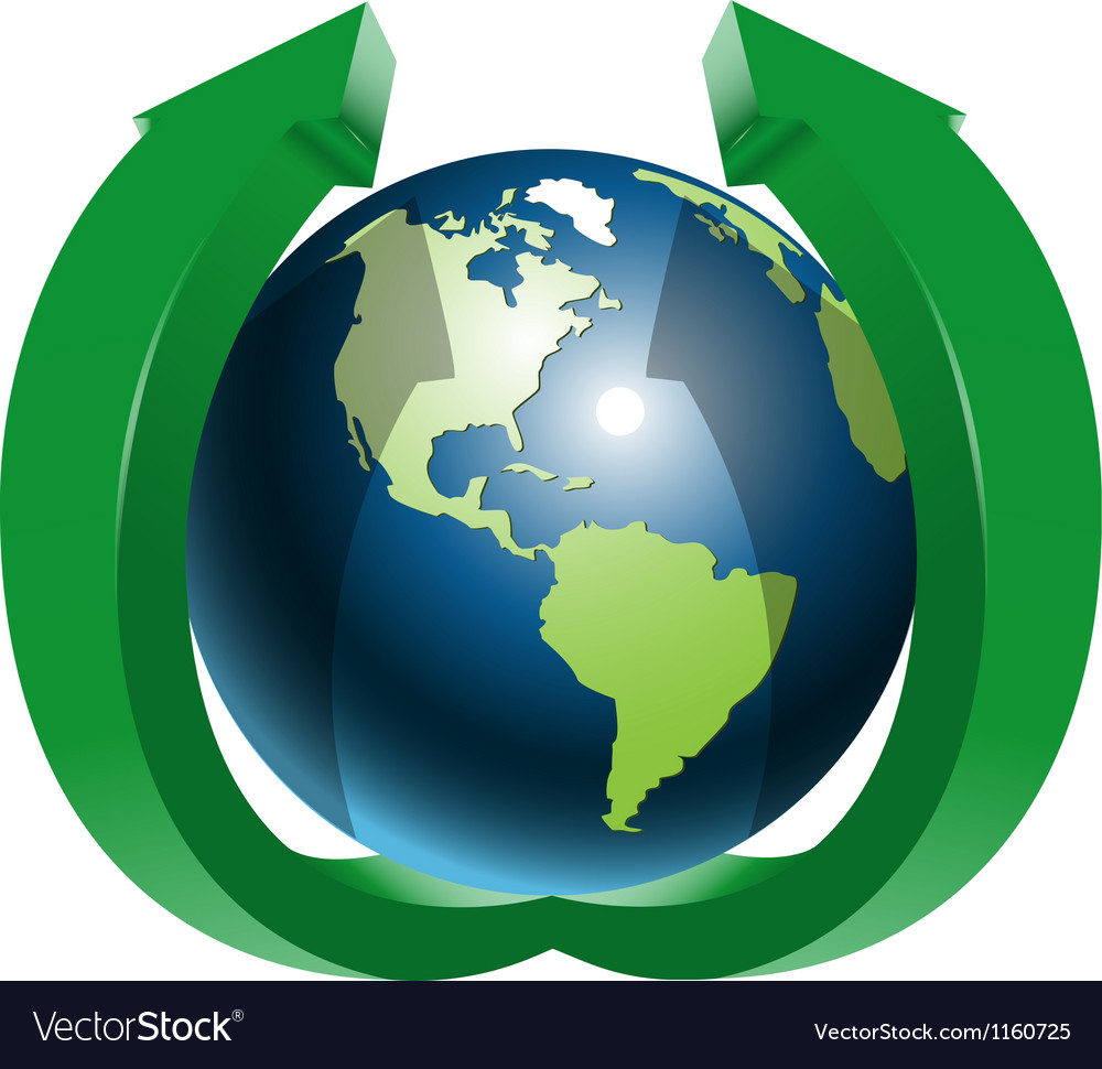 Globe and two green arrows top vector | Price: 1 Credit (USD $1)