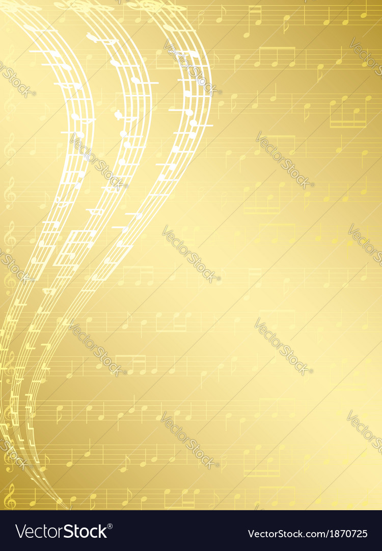 Gold musical background with notes vector | Price: 1 Credit (USD $1)