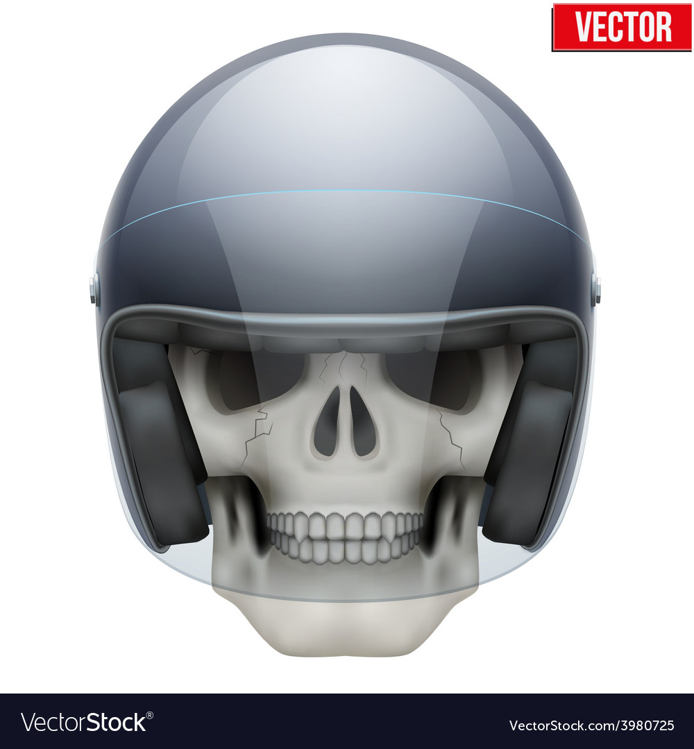 Human skull with motor biker helmet vector | Price: 3 Credit (USD $3)