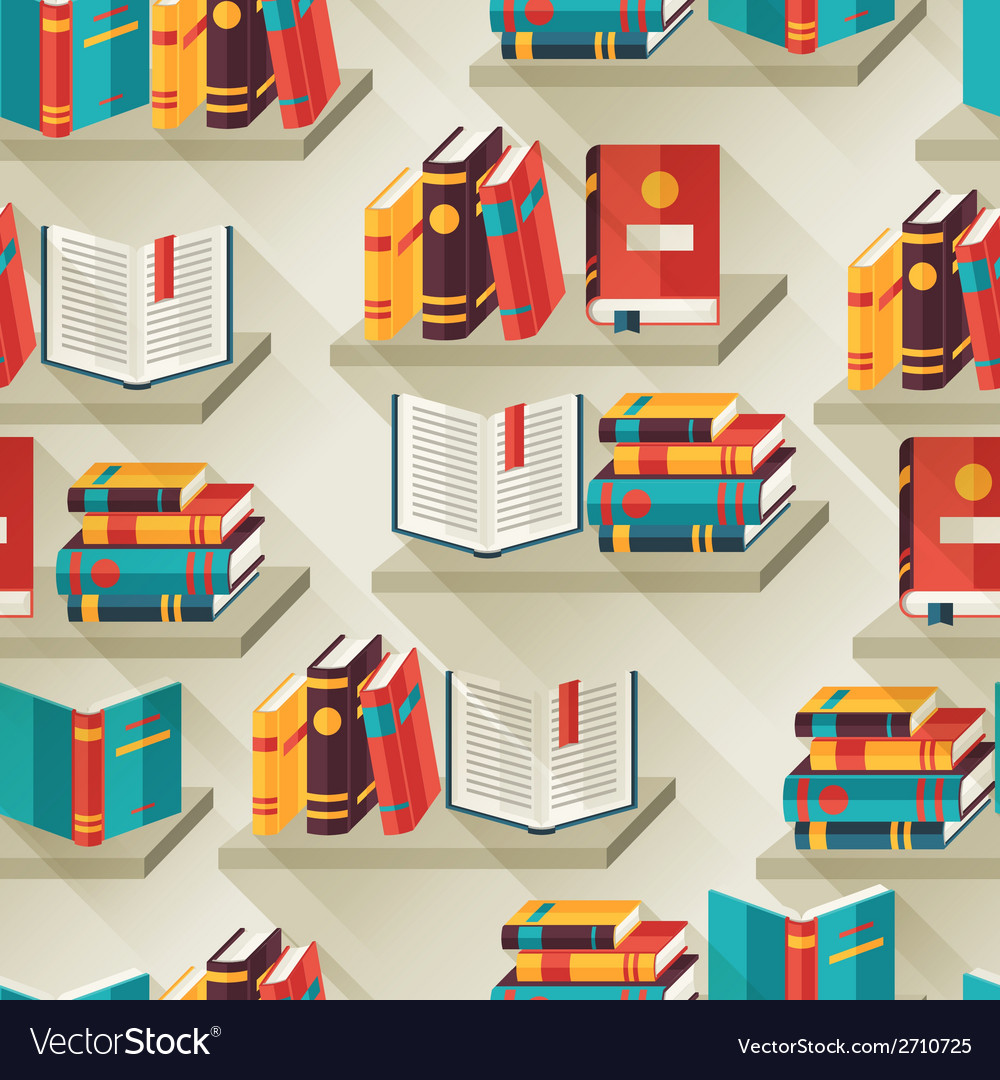 Seamless pattern with books on bookshelves in flat vector | Price: 1 Credit (USD $1)