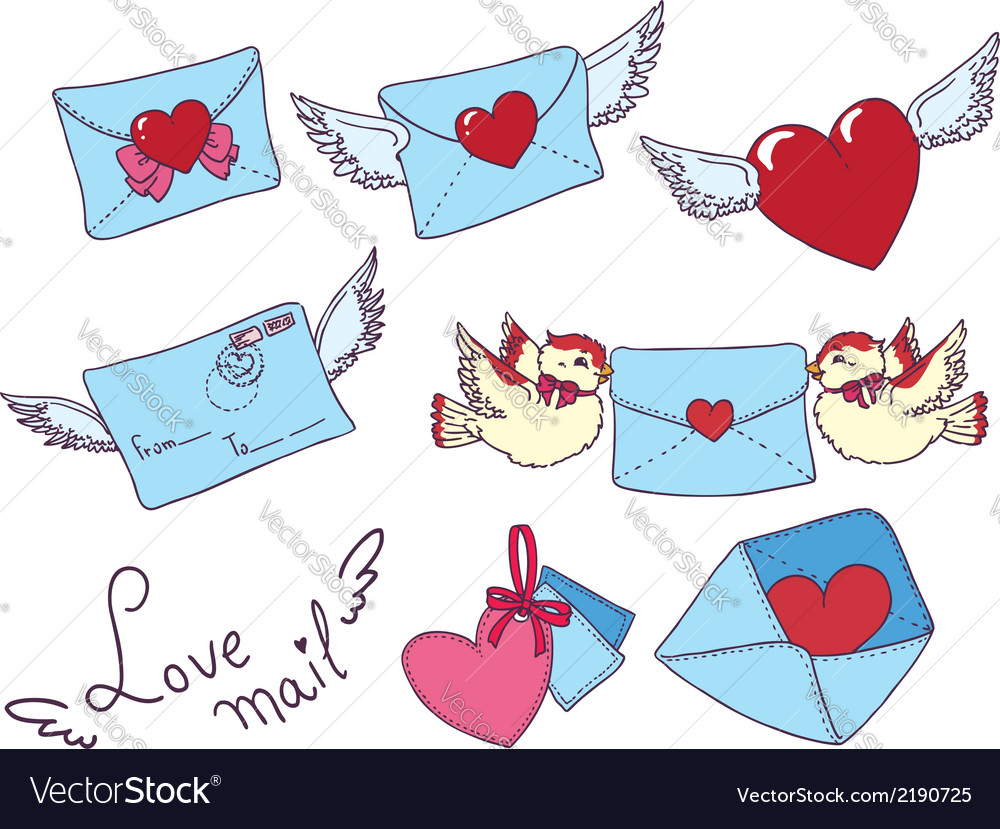 Set e-mail envelop icons with heart vector | Price: 1 Credit (USD $1)