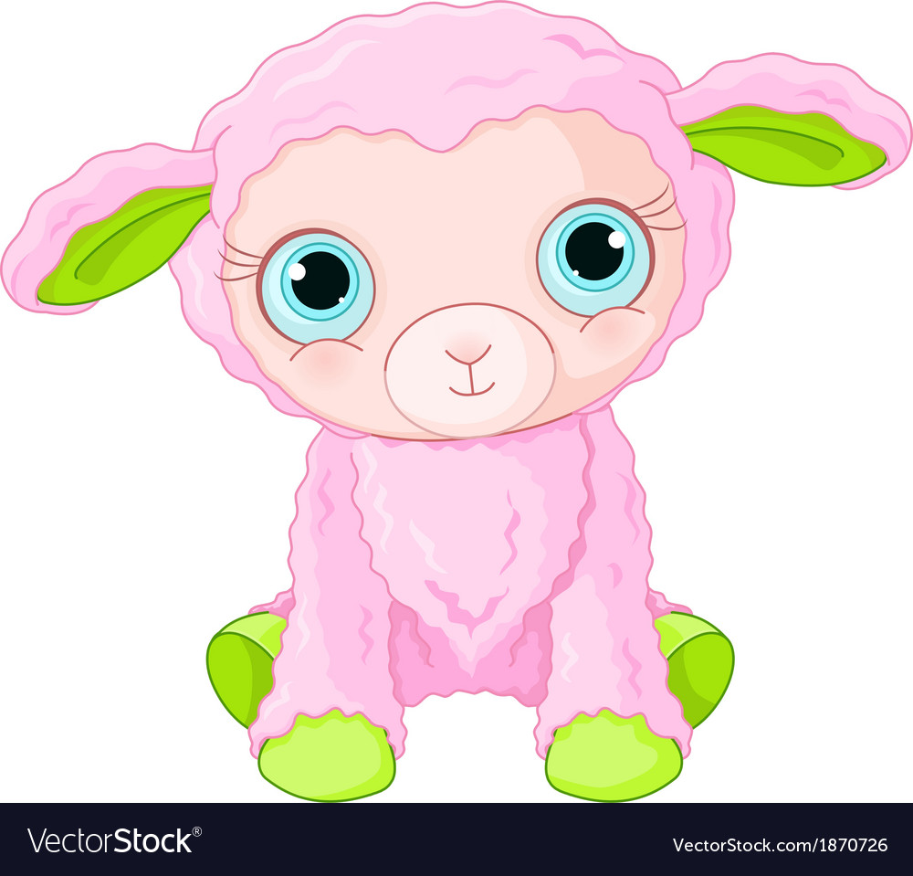 Cute lamb character vector | Price: 3 Credit (USD $3)