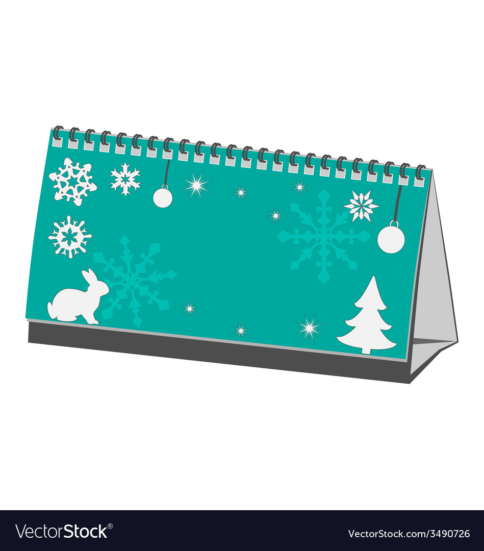 Cyan christmas calendar isolated on white vector | Price: 1 Credit (USD $1)