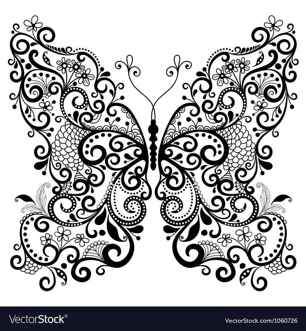 Fantasy lacy vintage butterfly vector | Price: 1 Credit (USD $1)