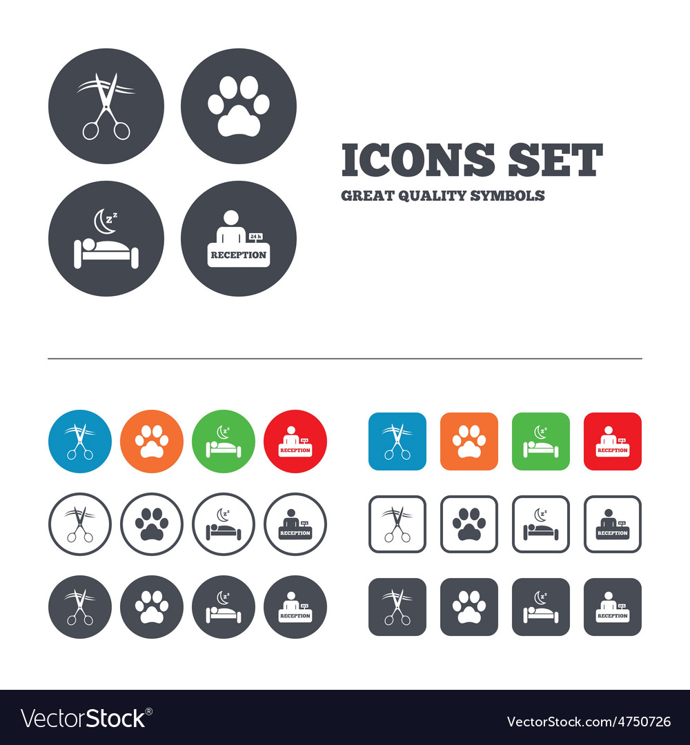 Hotel services icon pets allowed hairdresser vector | Price: 1 Credit (USD $1)