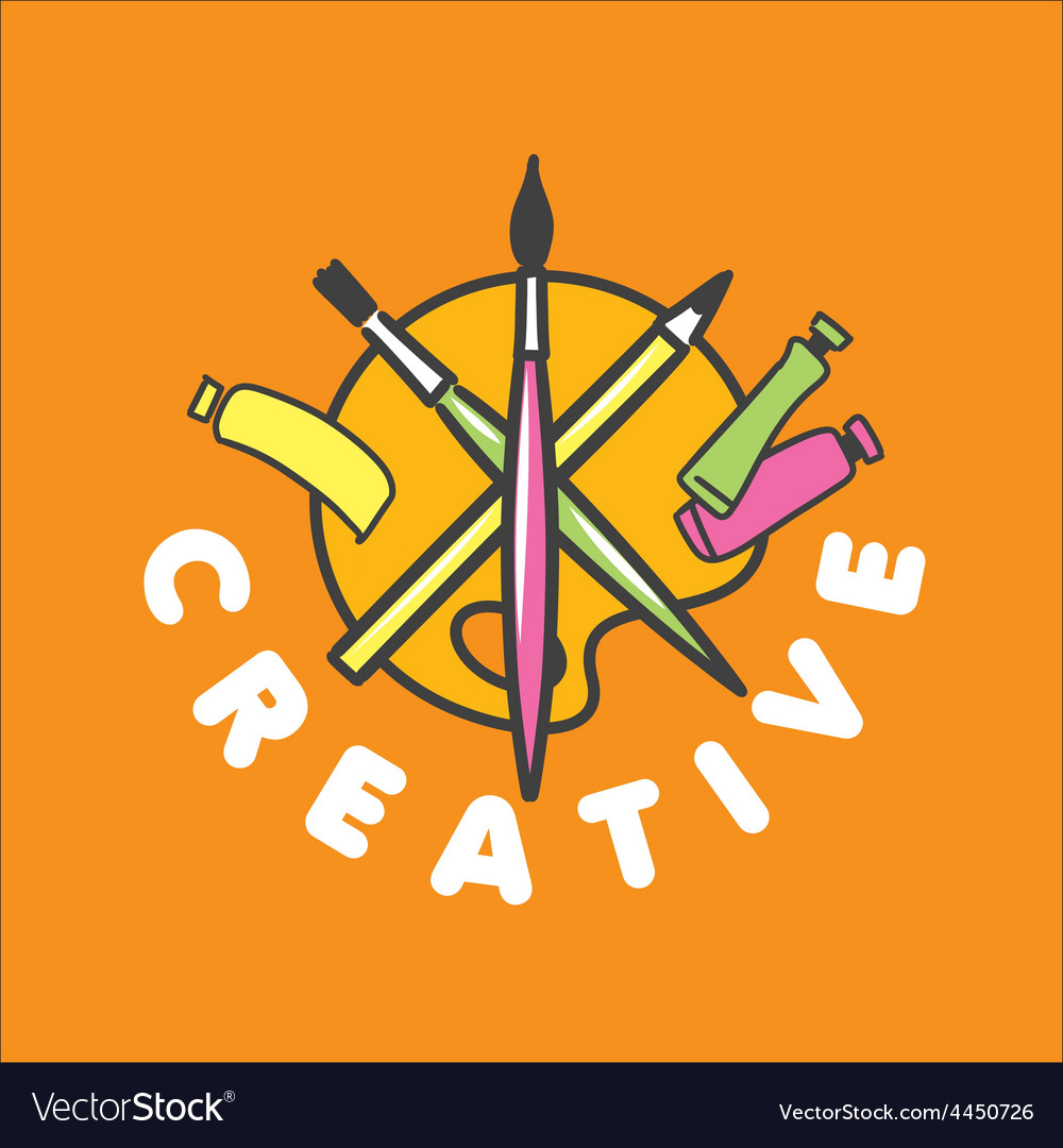 Logo brush and palette for creativity vector | Price: 1 Credit (USD $1)