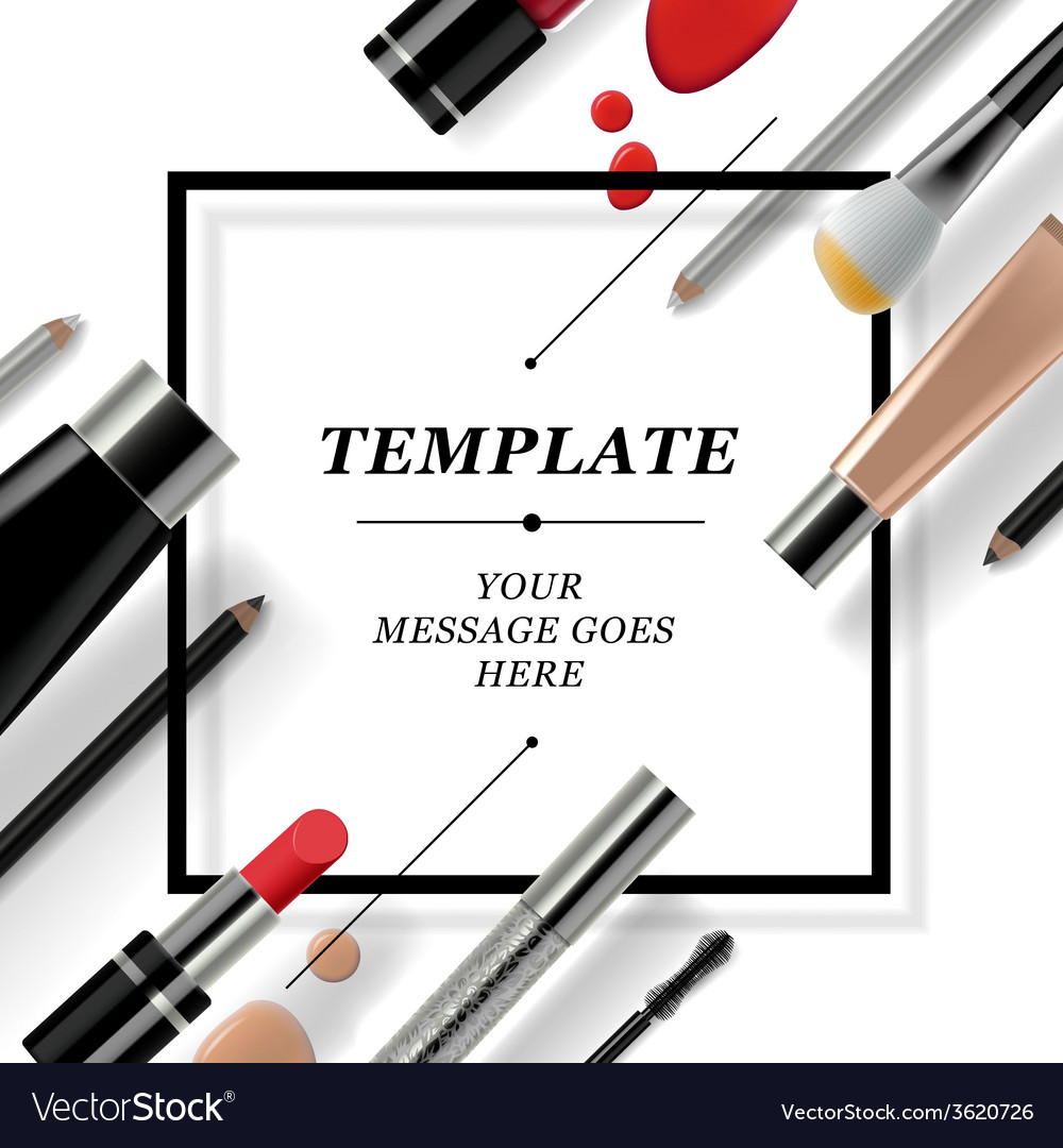 Makeup template with collection of make up vector