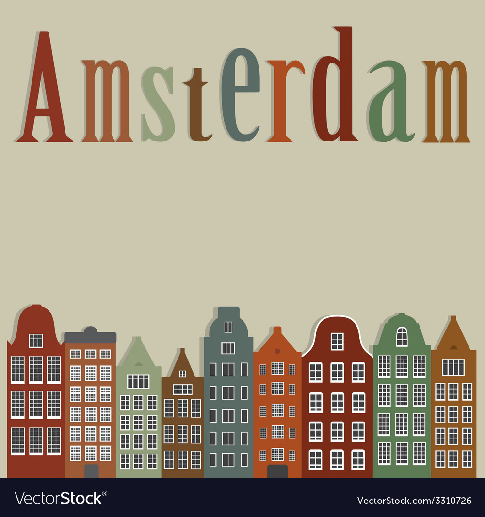 Old colourful houses of the city of amsterdam vector | Price: 1 Credit (USD $1)