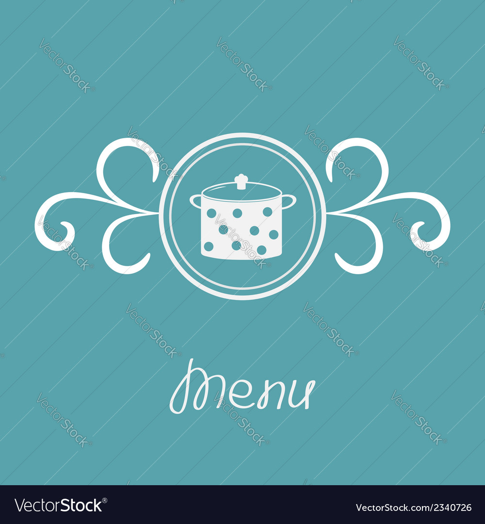 Saucepan with dots and round frame calligraphic vector | Price: 1 Credit (USD $1)
