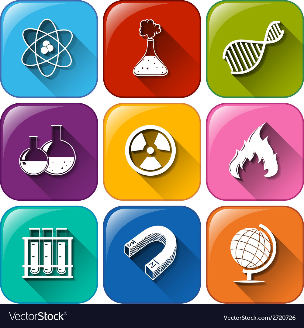 Science object icons vector | Price: 1 Credit (USD $1)