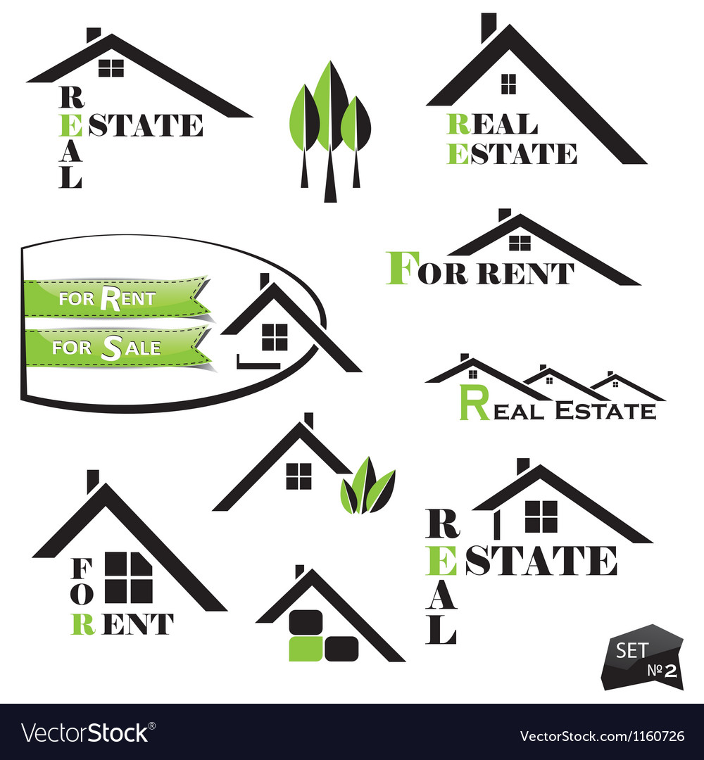 Set of houses icons for real estate business vector | Price: 1 Credit (USD $1)