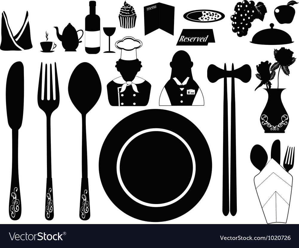 Set of restaurant object vector | Price: 1 Credit (USD $1)
