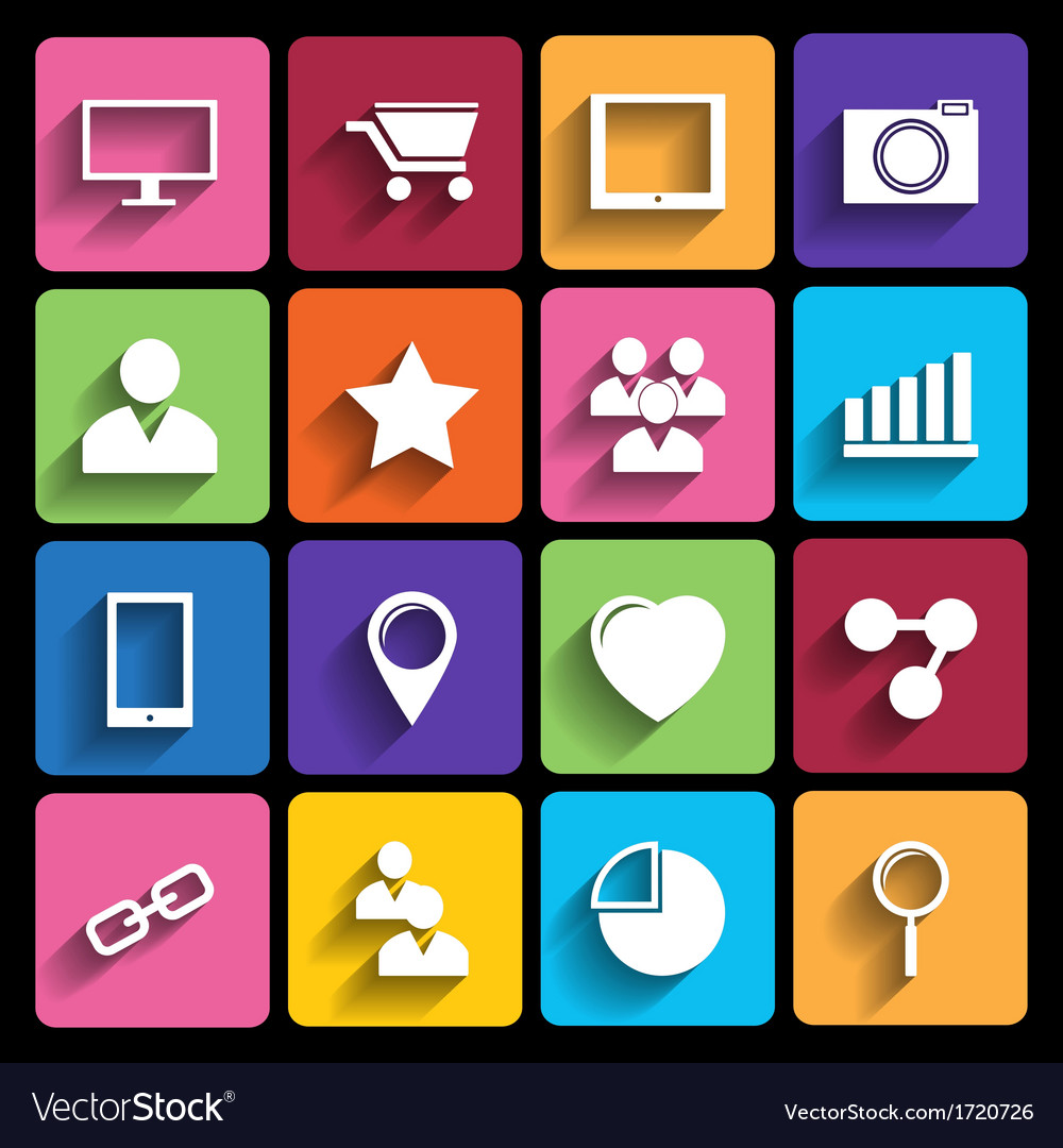 Trendy icons with long shadow vector | Price: 1 Credit (USD $1)