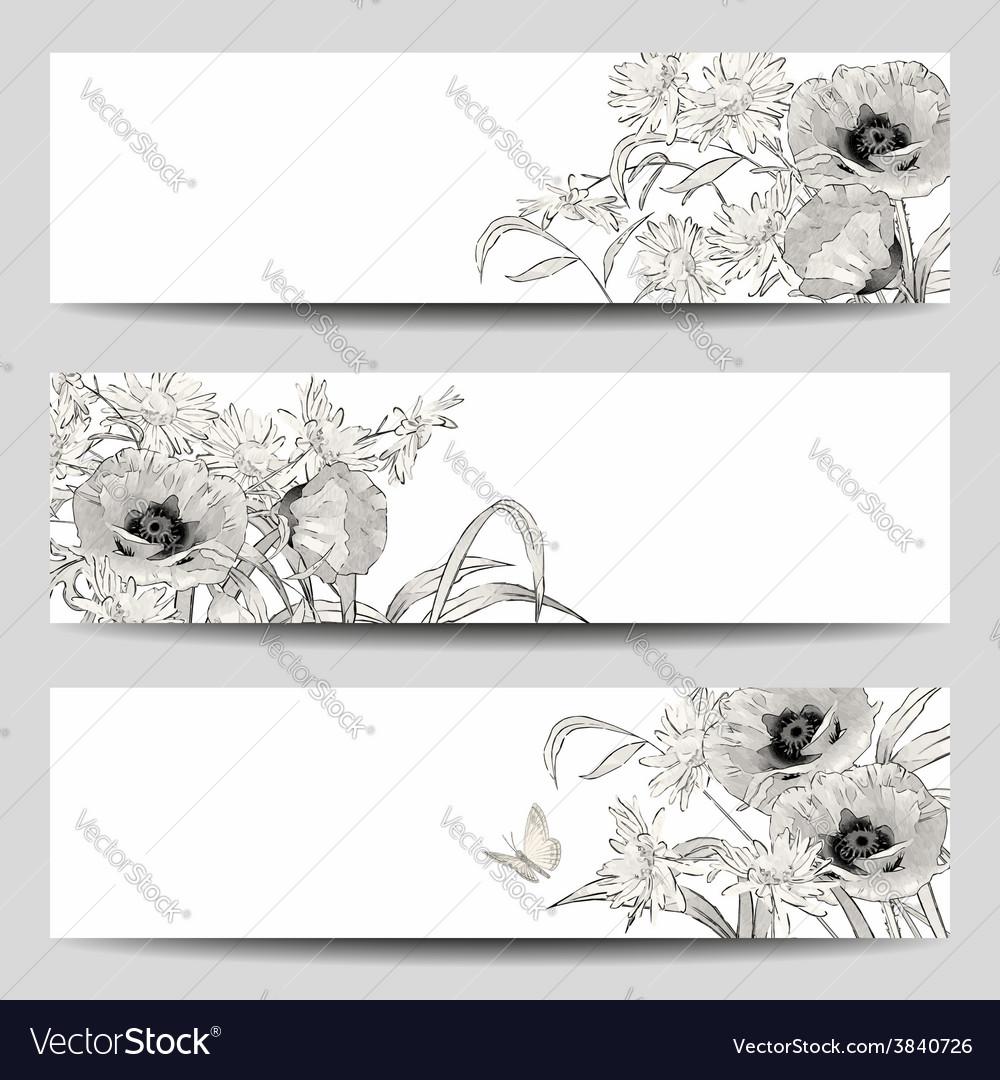 Vintage floral banner vector | Price: 1 Credit (USD $1)