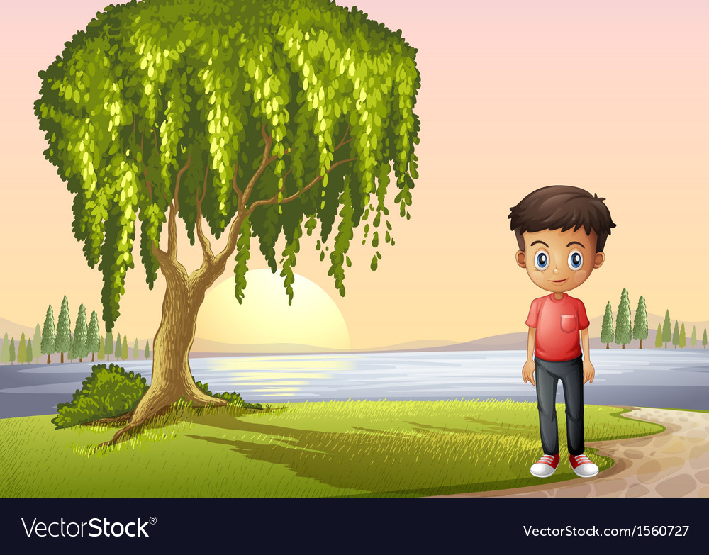 A boy standing near the giant tree vector | Price: 3 Credit (USD $3)