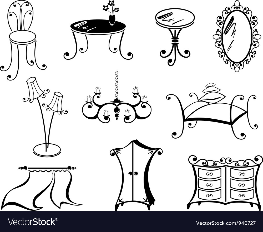 A set of furniture vector | Price: 1 Credit (USD $1)