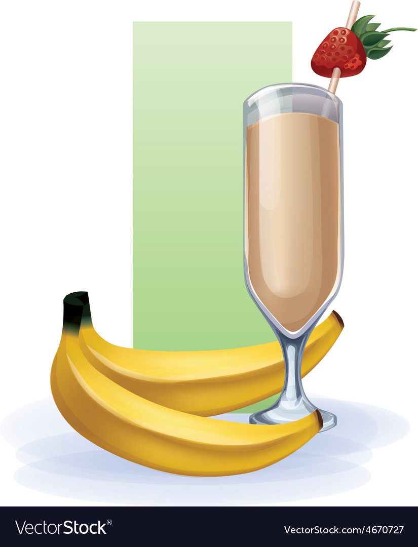 Banana in goblet of juice cocktail smoothie vector | Price: 1 Credit (USD $1)