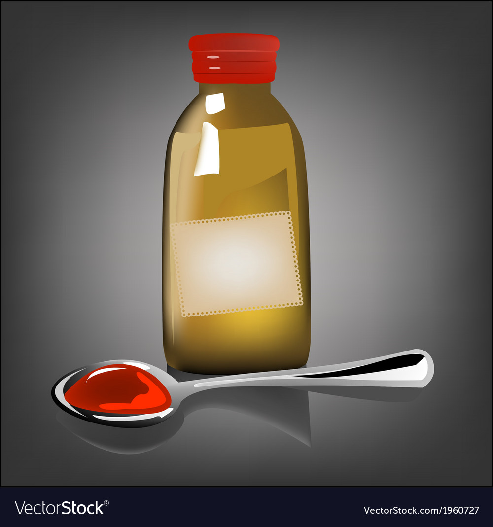 Bottle pouring medicine syrup in spoon vector | Price: 1 Credit (USD $1)