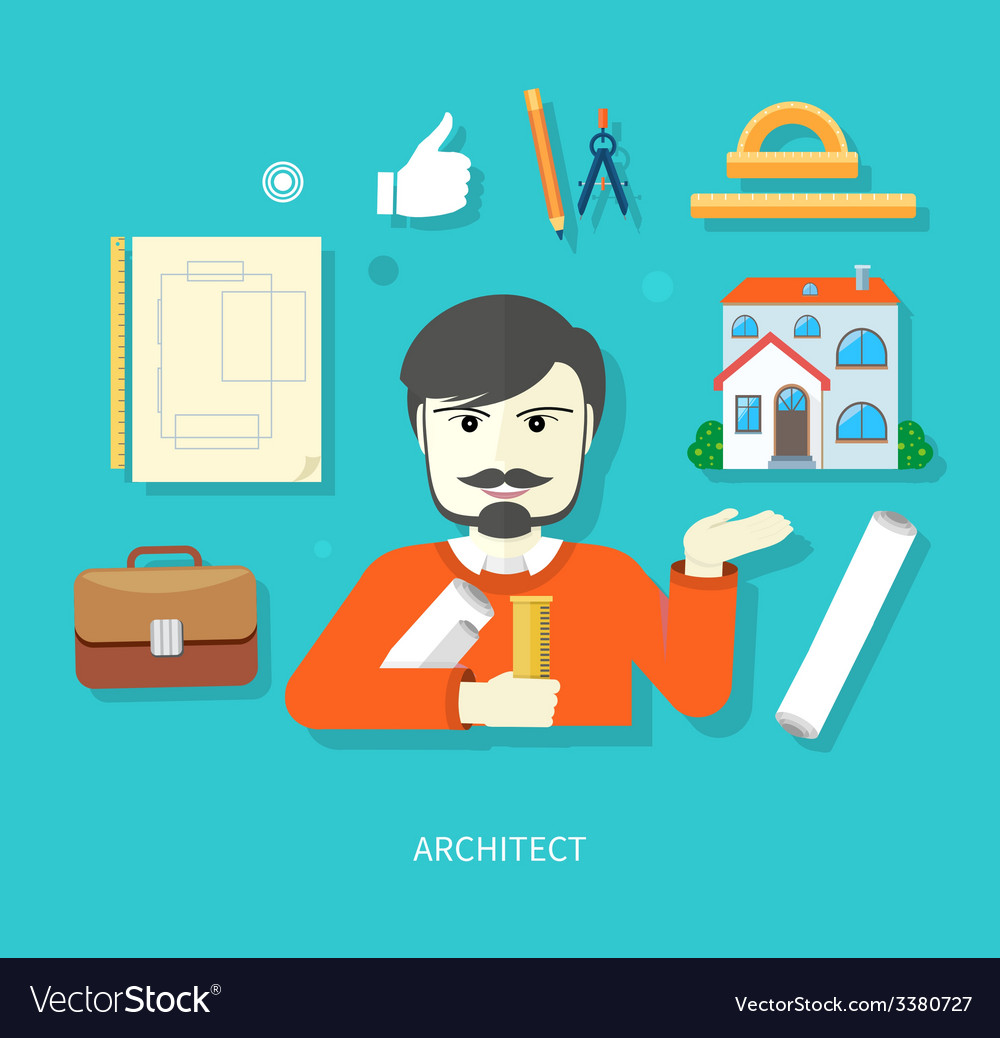 Chief architect with compasses and blueprint vector | Price: 1 Credit (USD $1)