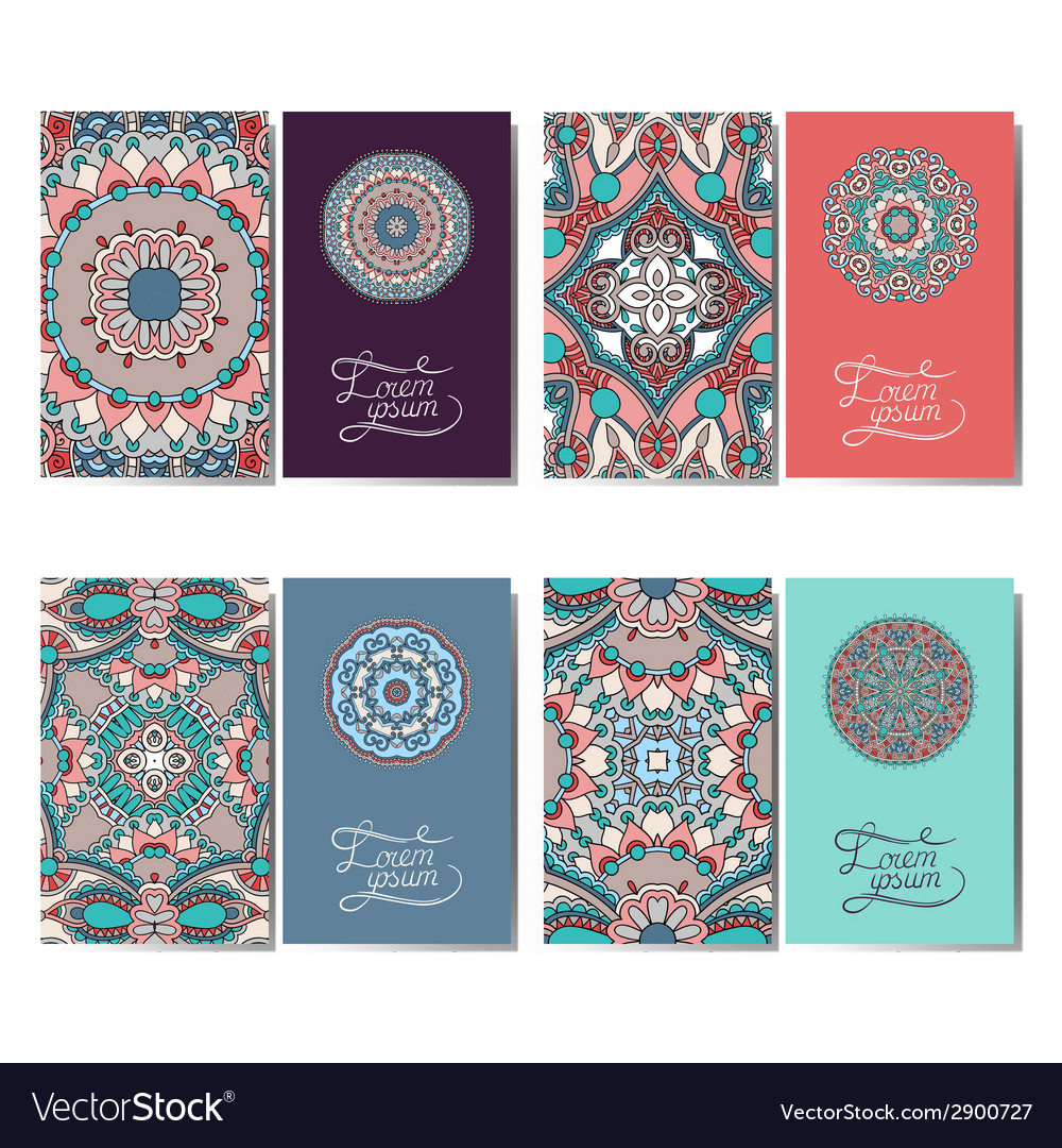 Collection of ornamental floral business cards vector | Price: 1 Credit (USD $1)