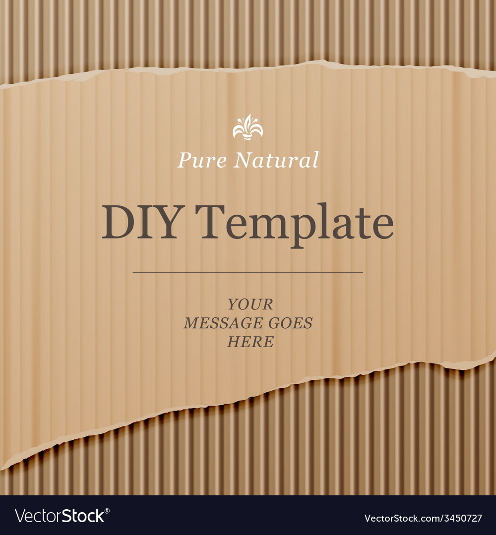 Diy template with cardboard texture background vector | Price: 1 Credit (USD $1)