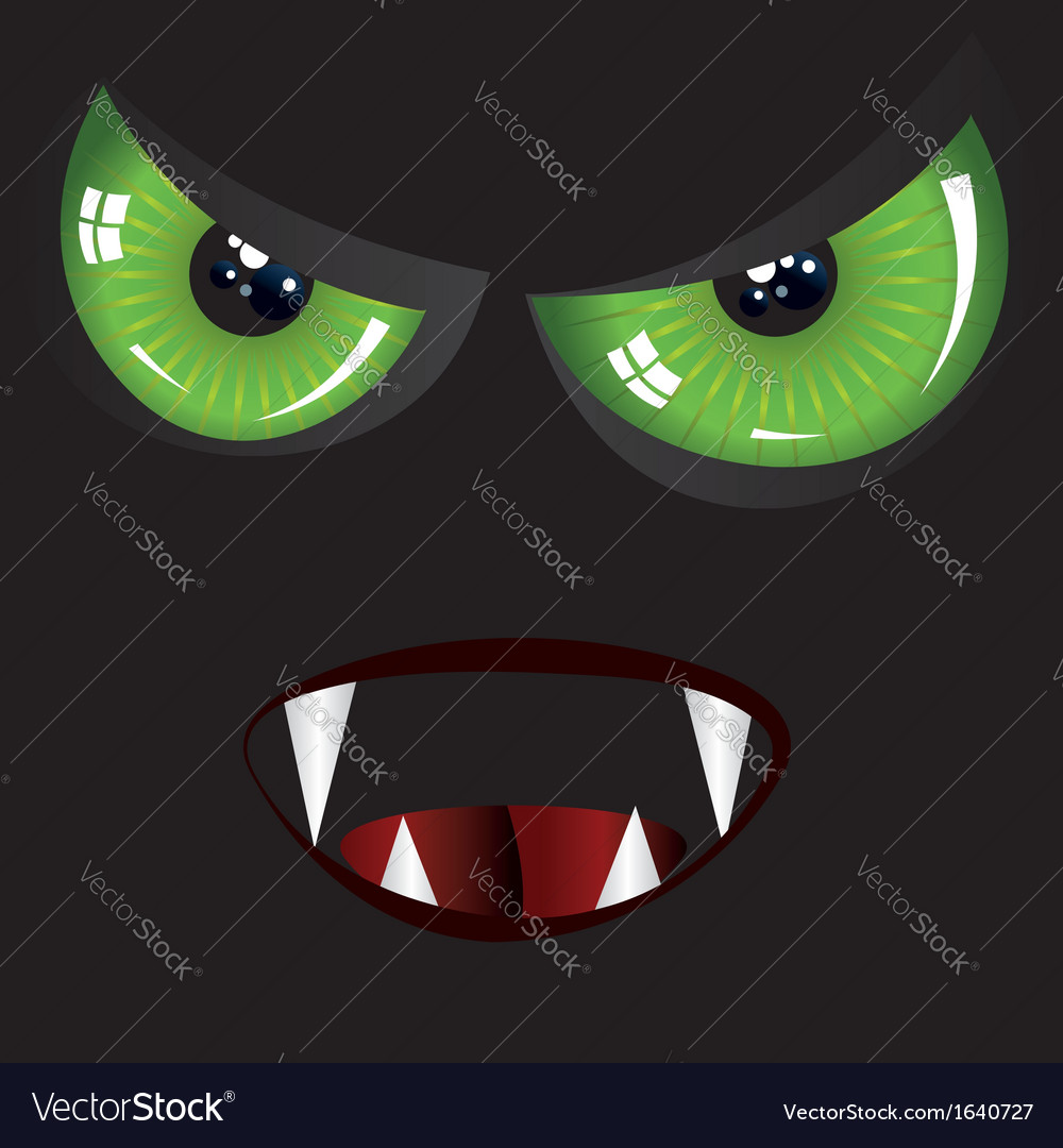 Evil face with green eyes vector | Price: 1 Credit (USD $1)