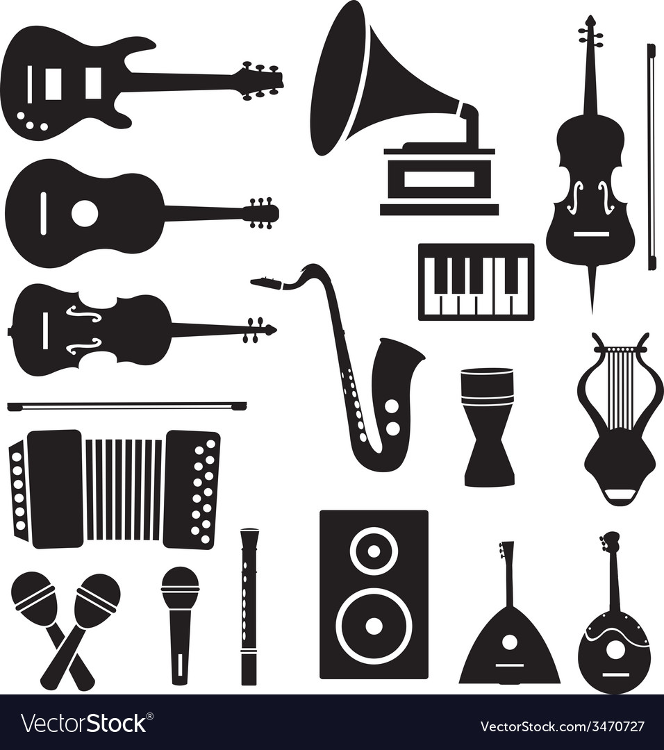 Flat music instruments icons pictograms background vector | Price: 1 Credit (USD $1)