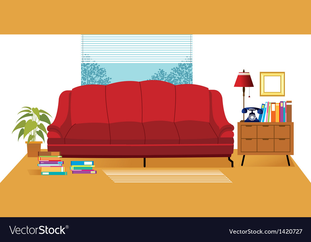 Office couch interior vector | Price: 1 Credit (USD $1)