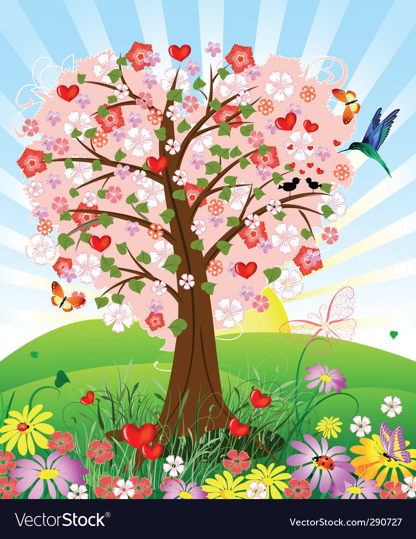 Romantic tree vector | Price: 1 Credit (USD $1)